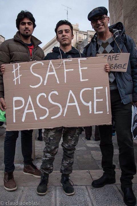 la marcia dei rifugiati a Lecce